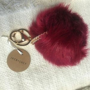 ❤️ 3FOR15 Jack and Lucy Faux Fur Pom Keychain NWT